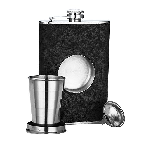 Shot Flask Stainless Steel 8 oz Hip Flask by QLL, With 2 Oz. Simple to Remove and Use Collapsible Shot Glass & Useful Funnel