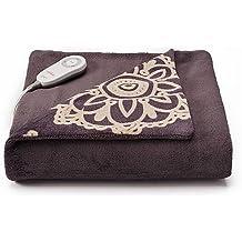 Sunbeam Microplush Comfy Toes Electric Heated Throw Blanket w Foot Pocket Daisy Grey