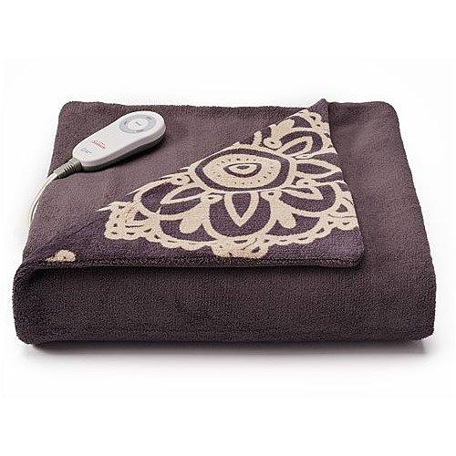 Daisy Pocket (Sunbeam Microplush Comfy Toes Electric Heated Throw Blanket w Foot Pocket Daisy Grey)