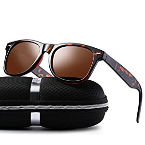 wearPro Wayfarer Sunglasses for Men Women Vintage Polarized Sun Glasses WP1001(leopard/brown)