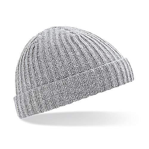 Beechfield Unisex Retro Trawler Winter Beanie Hat (One Size) (Heather Grey)