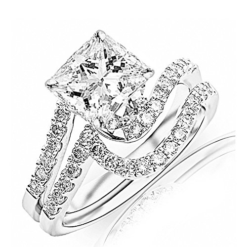 Platinum Pave Set Diamond Band - 1.2 Ctw Platinum Curving Pave & Prong-set Round Diamond Engagement Ring and Wedding Band Set (G-H Color VS1-VS2 Clarity 0.45 Ct Princess Cut Center)