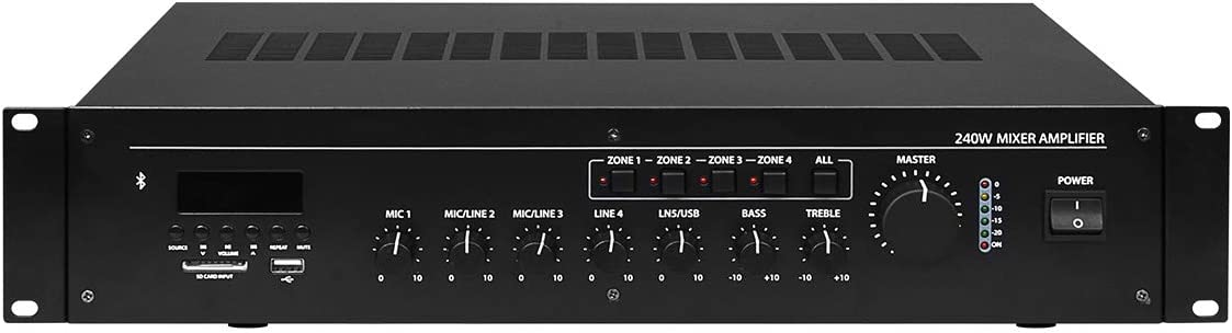 CAMPOTECH Professional Audio Bluetooth Power Amplifier at 8-16Ω Mixer Amplifier Mulit-Channel Rack Mount Bridgeable, LED Indicators, Shockproof Binding Posts