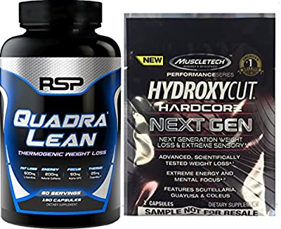 Rsp Nutrition QuadraLean Thermogenic **NEW** & FREE Muscletech Hydroxycut Next Gen Sample Cutting Edge Thermogenic To Support Increased Energy And Metabolism*