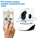 HD 720P Wifi Camera Baby Monitor With Two Way Audio ,Night Vision ,Motion Detection Pan/Tilt Wireless IP Camera Home Security Camera (White)