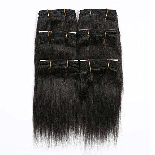 "Beauty : Natural Black Indian Straight Hair Bundles, Re4U Virgin Human Hair Short Hair Weave Weft Hair (#1b 6"" 6pcs/pack)"
