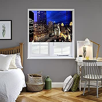 zozulu roller blackout shades chicago night theme printed fabric blinds for