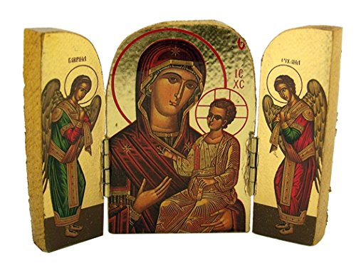 The Virgin Curative of the Good Way with Angels Wooden Icon Triptych, 2 3/4 Inch