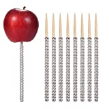 24ct Glitter Bling Bamboo Candy Apple Sticks 6 inch for Wedding Favor Cake pop Chocolate Caramel Apple Skewers Buffet Candy Making Accessories by Quotidian