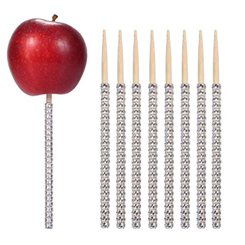 24ct Glitter Bling Bamboo Candy Apple Sticks 6 inch for Wedding Favor Cake pop Chocolate Caramel Apple Skewers Buffet Candy Making Accessories by Quotidian -