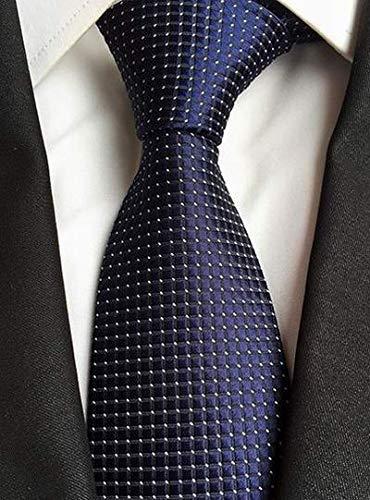 AK Tie Skng Polka Dots Corbatas blancas azules para hombres ...