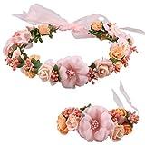 Love Sweety Rose Flower Crown Wreath Wedding Headband Wrist Band Set (Coral)