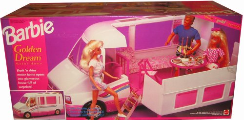 barbie-golden-dream-motor-home-motorhome-van-bus-w-gold-accents-becomes-home-trail-rider-1992