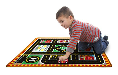 Melissa & Doug Round The City Rescue Rug With 4 Wooden Vehicles (39 x 36 - Arden In Stores Mall