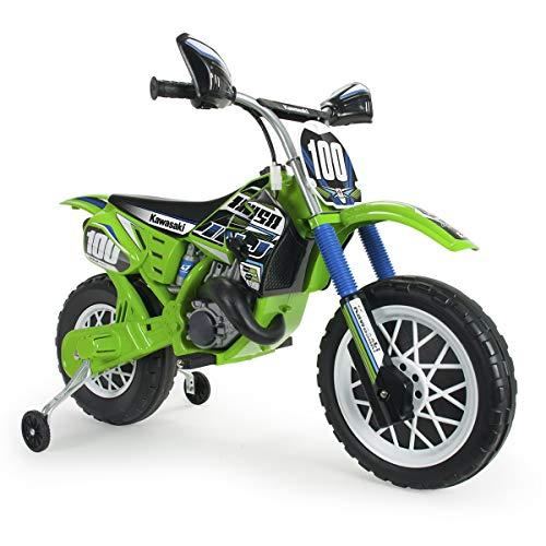 INJUSA – Elektromotorrad Kawasaki 6V empfohlen für Kinder über 3 Jahre Alt, mit Gashebel am Lenker und Gummibändern am…