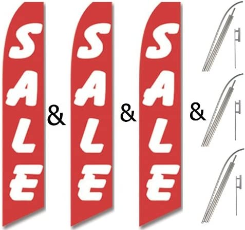 Pack Swooper Flags /& Pole Kits Red with Big Bold White Text SALE Three 3