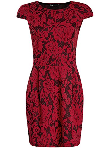Mujer Ultra Oodji Vestido Rojo Texturizado De 2945f Ajustado Tejido g75wxH5q