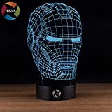 justice flat iron - LE3D 3D Optical Illusion Desk Lamp/3D Optical Illusion Night Light, 7 Color LED 3D Lamp, Marvel Comics 3D LED For Kids and Adults, Justice League Iron Man Mask Light Up