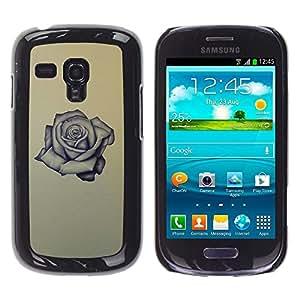 Rose Tattoo Ink Roca Rollo Amor Amarillo- Metal de aluminio y de plástico duro Caja del teléfono - Negro - Samsung Galaxy S3 MINI i8190 (NOT S3)