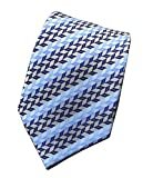 MINDENG New Men's Dark Blue Stripes Silver 100% Silk Necktie Classic Striped Tie