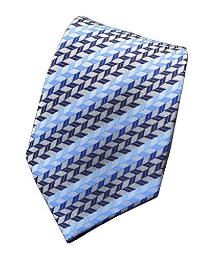 MINDENG New Mens Dark Blue Stripes Silver 100% Silk Necktie Classic Striped Tie