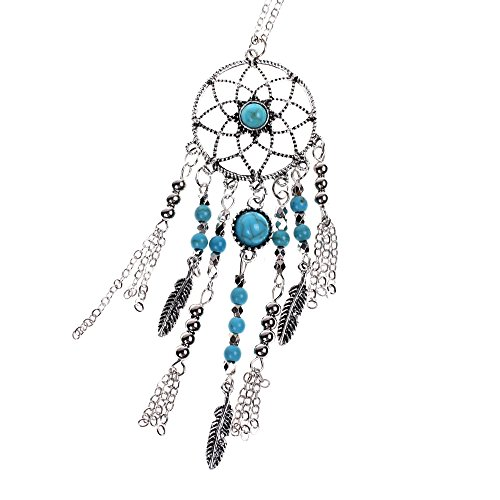 Gypsy Costume Party City (Kloud City Bohemian Hollow Flower Sweater Chain Dangling Feather Dream Catcher Turquoise Pendant Necklace)
