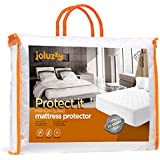 joluzzy QUEEN Size 100% Waterproof/100% Cotton/Quilted Mattress Pad, Hypoallergenic/Vinyl-free/Breathable/Noiseless Mattress Protector, 10-Year-Warranty