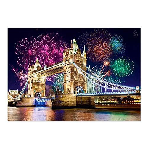 (SuperDecor DIY 5D Diamond Painting by Number Kits, Beautiful Fireworks in The Night Full Drill Cross Arts Craft Canvas Wall Decor, 12x16 inch)