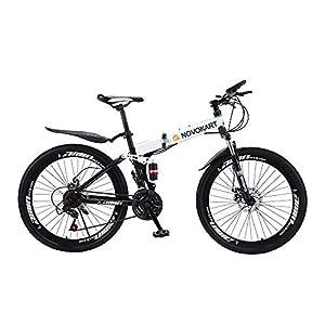 Novokart-Bicicletta Sportiva da Montagna, Mountain Bike Pieghevole per Uomini e Donne Adulti, 24/26 Pollici con Ruota a Raggi,Bianco 1 spesavip