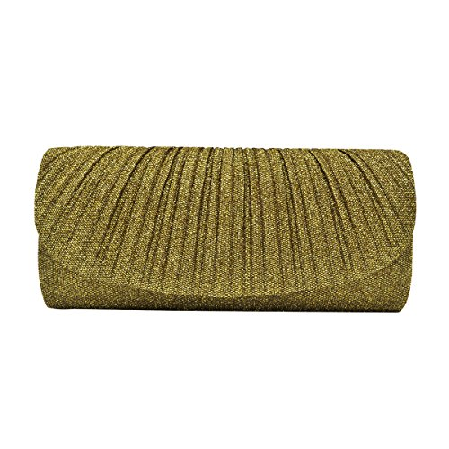 - Premium Pleated Metallic Glitter Flap Clutch Evening Bag Handbag, Gold