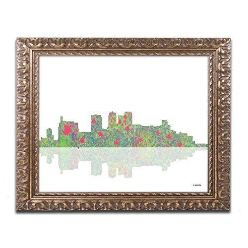 (Birmingham Alabama Skyline by Marlene Watson, Gold Ornate Frame 16x20-Inch)