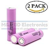 Samsung ICR 18650 26F High Drain 3.7V 5.2A 2600mAh Li-ion Rechargeable Flat Top Battery, (2 Pcs) by M&A BD Electronics