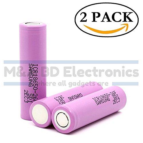 Samsung ICR 18650 26F High Drain 3.7V 5.2A 2600mAh Li-ion Rechargeable Flat Top Battery, (2 Pcs) by M&A BD Electronics by M&A BD Electronics