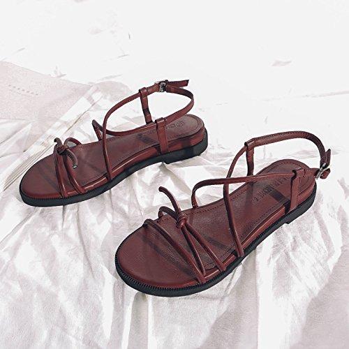 La Anillo La Pie De Correa Del Cruzada GAOLIM De Femenino Verano Planas Baja Sandalias Terraza Y Sandalias Zapatos Chica Vino Del rojo Con ztdtqxC4w