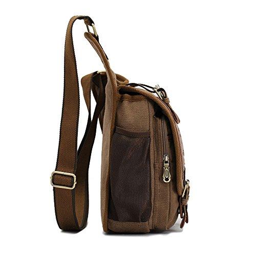 APG Men's Brown Canvas Leather Single Shoulder Cross Body Bag Military Messenger School Travel Hiking Satchel