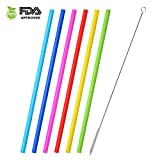 Desheng Drinking Straws for 30 oz Tumbler Yeti - 6 Pack of Reusable Silicone Straws 12 Inches for Tumblers with 1 Cleaning Brushes