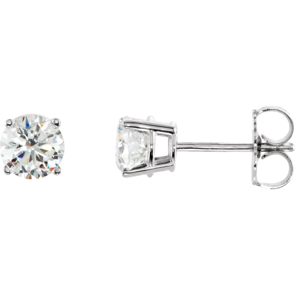Jewels By Lux 925 Sterling Silver 5mm Round Cubic Zirconia Earrings