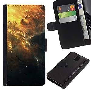 KLONGSHOP // Tirón de la caja Cartera de cuero con ranuras para tarjetas - Hermoso racimo de la galaxia - Samsung Galaxy Note 3 III //