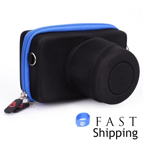 Price comparison product image Black / Blue Kannon Series Compact System Camera Case for Nikon 1 J1 with 30-110mm Lens + EnvyDeal Velcro Cable Tie