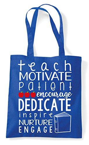 Shopper Royal Bag Nuture Motivate Tote Blue Inspire Dedicate Teachers qwW64AUHw