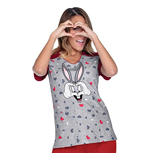 tooniforms-by-cherokee-womens-v-neck-bugs-bunny-print-scrub-top-small-print