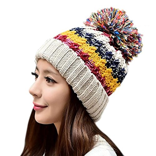 (Lookatool® Women Winter Hat Skullies Beanies Velvet Knit Warm Cap Headgear (B)