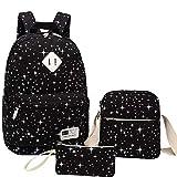 MIYA LTD School Backpacks Boys,MiyaTeens Girls Students Unisex School Bookbag Set 3 Pieces Laptop Shoulder Bag Travel Daypack Lightweight Shoulder Bag Star Pattern - Black