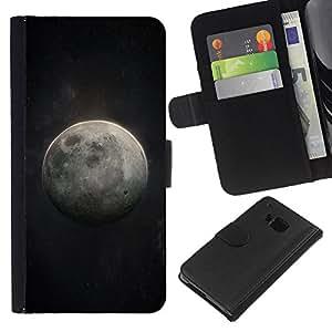 WINCASE Cuadro Funda Voltear Cuero Ranura Tarjetas TPU Carcasas Protectora Cover Case Para HTC One M9 - Luna cosmos arte cielo nocturno universo