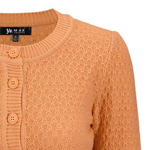 YEMAK Women's 3/4 Sleeve Crewneck Cropped Button Down Knit Cardigan Sweater (S-3X)