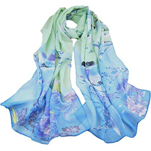 LMVERNA Women Flowers animal Birds scarf Chiffon silk scarfs Printed polka dot spring scarfs (Blue)