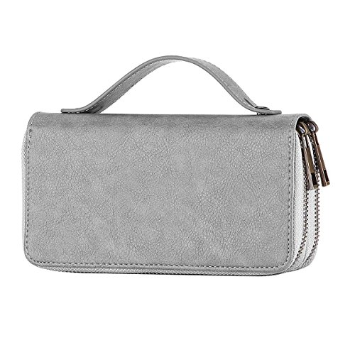HAWEE Big Size Long Wallet with Leash for Woman Dual Zippered Clutch Purse Premium PU 5 Credit Card Slot 1 Smart Phone Slot 1 Coin Purse and Ample Compartments for Cash and Note, Grey with Strap