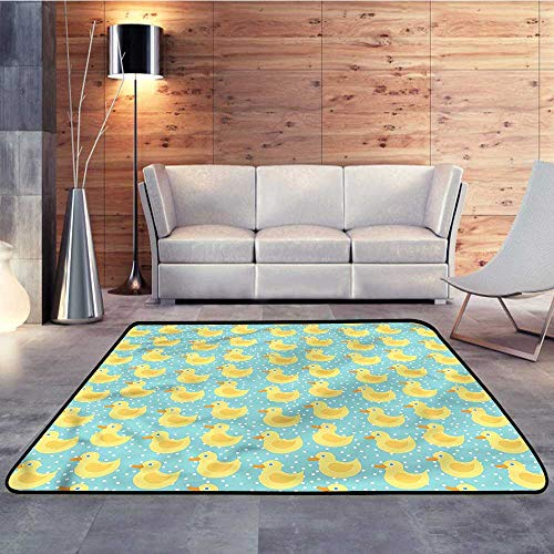 Durable Rubber Floor Mat,Duckies,Polka Dots Childish CartoonW 71