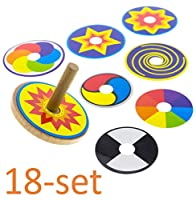 Customizable Wooden Spinning Top Toy - FUN & EDUCATIONAL, Set of 18: 2x Included Top + 8 Colorful Rings. Spin Time 1-2 Min. Classic Perpetual Motion Fidget Toy For Kids 2, 3, 4, 5 or 6 Years Old