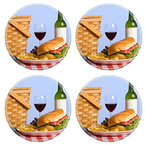 Purple Grapes Picnic Baskets (Liili Natural Rubber Round Coasters IMAGE ID: 3874956 A picnic lunch on a red and white gingham tablecloth including a sandwich chip grapes wine and a picnic basket in)